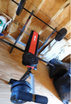Weight Bench with Plastic Weighst and Bars